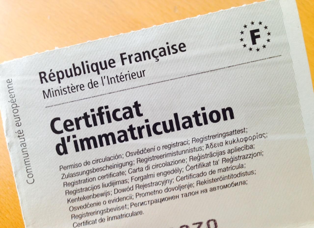 Aperçu du certificat d'immatriculation ou carte grise